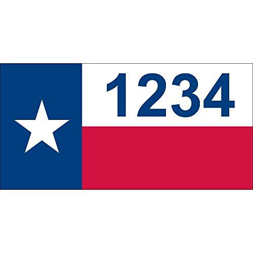 [해외]개인화 된 주소 - 텍사스 깃발 집 주소 - 12 x 6/Personalized  - Texas Flag House Numbers by State of Address  - 12  x 6