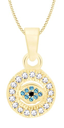 Vvs1 Eye - AFFY 14k Yellow Gold Cubic Zirconia and Simulated Blue Topaz Tiny Evil Eye Pendant