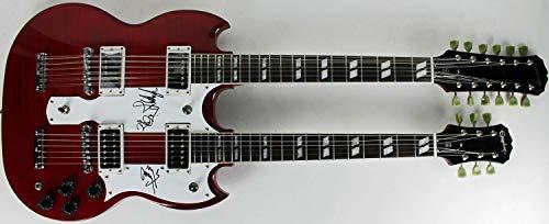 (Led Zeppelin Page Plant Jones Autographed Signed Double Neck Epiphone Guitar - PSA/DNA Authentic)