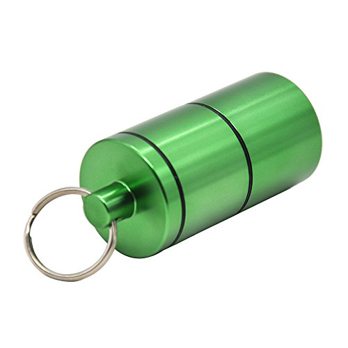 Stash Jar -Detachable Double Deck Airtight Water Proof/Smell Proof Aluminum Herb Container Bottle (Green)