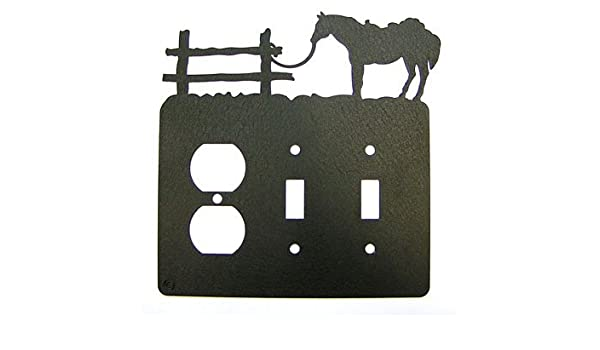 Tethered Horse Single Outlet Cover Plate Black