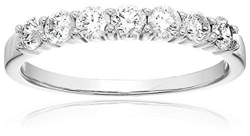 (Vir Jewels Certified I1-I2 1/2 cttw 7 Stone Diamond Wedding Band 14K White Gold Size 8)