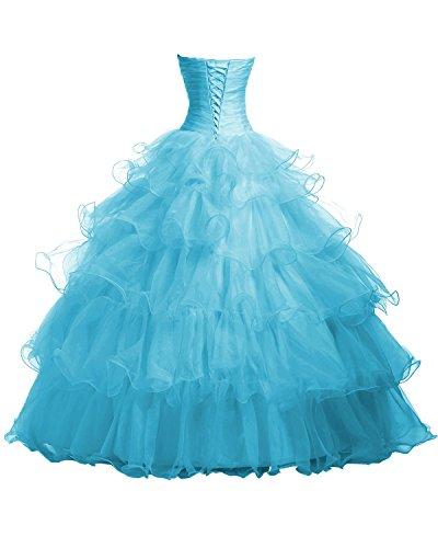 Ruffles Damen Kleider Quinceanera Blue Blue Dresses Organza Fanciest Ball Beaded qX4tFFO