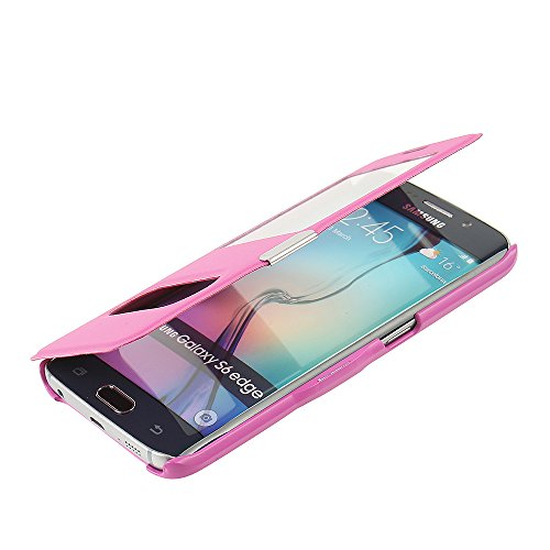 Slim Flip Cover for Samsung Galaxy S6 Edge (Hot Pink) - 1