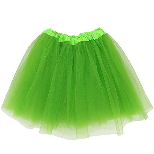 Adult Size 3-Layer Tutu Skirt - Princess Costume Ballet Party Warrior Dash/Run (Lime Green),One -