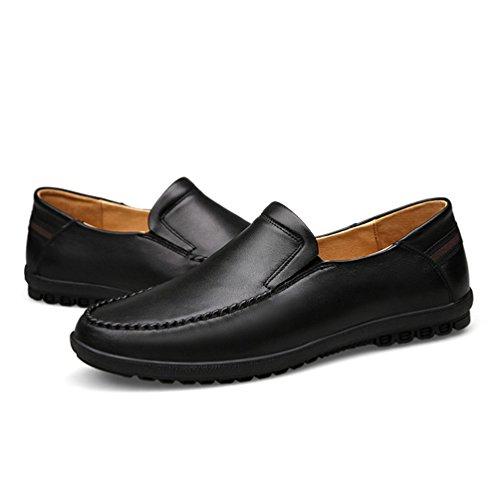 Ocio PU Forrado Negro Zapatos Calentar Hombre YiJee Cómodo Cuero Mocasines Zapatos qOYxS0wgp