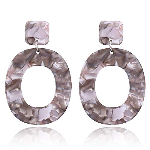 AILUER Acrylic Earrings Resin Oval Hoop Mottled Drop Earring Dangle Statement for Women, Girls