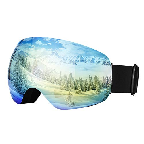 OMORC Ski Goggles,Large Spherical & Interchangeable Lens Ski Snow Goggles,Italy Imported Dual Layer Anti-fog Lenses,Two-way Ventilation System,UV Protection,OTG&Helmet Compatible for Men Women Skiing