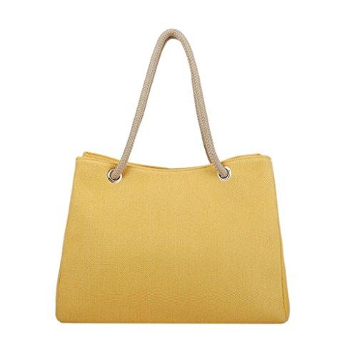 Bolso de Hombro de Las Mujeres - Capacidad del Viaje de la linaza del Lino Capacidad de Gran Capacidad: 40 * 20 * 30CM Seis Colores Portátiles Amarillo