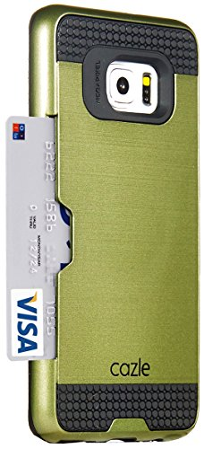 Galaxy S6 Edge Plus, Dual-layer Heavy Duty Matte Rugged Protective Cover Case with Credit Card Slot Holder for Samsung Galaxy S6 Edge Plus by Cazle (Olive Green) - Edge Olive