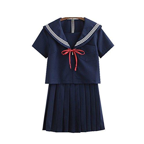 TISEA Japanese Anime Clothes Classic Navy Sailor Suit Short Sleeve Girl Students School Uniforms (Asian XL, Navy Blue)