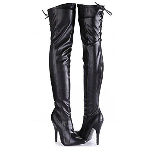 37 Super Botas de De Señoras delgado Talla con rodilla 12cm Elasticidad stovepipe con Puntiagudo las Botas BLACK de Negro 37 alto grande Era Bien mujeres xfAfpwB