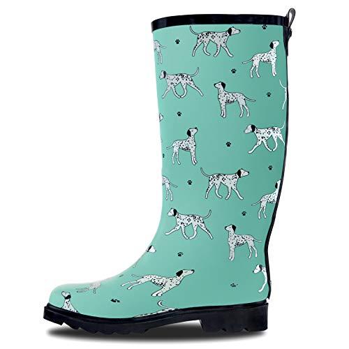 (LONECONE Women's Patterned Mid-Calf Rain Boots, Dog Walker, 6)