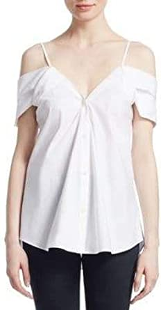 Theory Off-The-Shoulder Button-Down Hartman White Blouse Petite MSRP $265.00