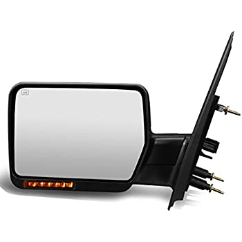 For Ford F150 Black Powered + Heated Manual Foldable Side Towing Mirror w/LED Turn Signal (Left/Driver)