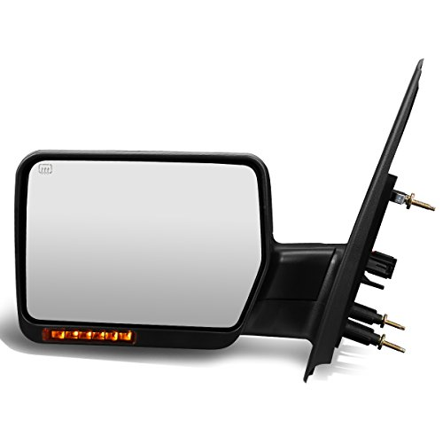 - For Ford F150 Black Powered + Heated Manual Foldable Side Towing Mirror w/LED Turn Signal (Left/Driver)
