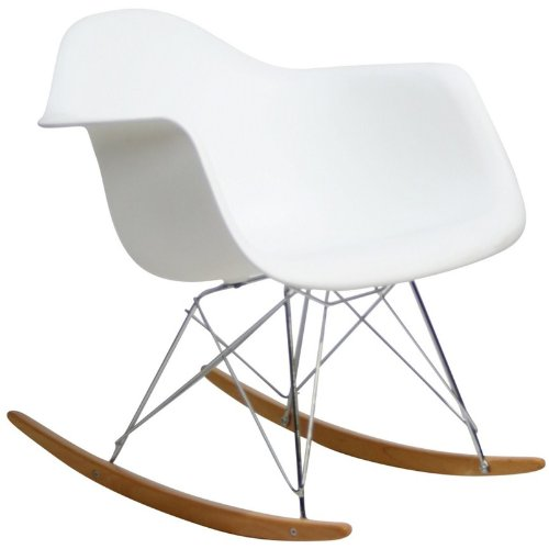 Modway Molded Plastic Armchair Rocker in White (Replica Design Chair)