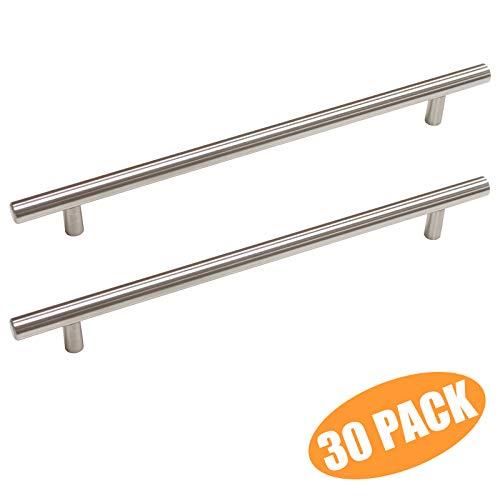"Probrico 8-4/5""(224mm) Hole Centers Euro Bar Cabinet Handle Satin Nickel Kitchen Bedroom Bathroom Furniture Cabinet Hardware Drawer Handle Pull(30 Pack)"