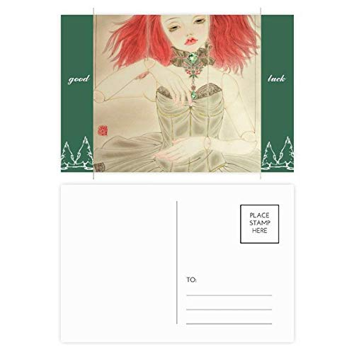 Puppet Doll Chinese Style Watercolor Good Luck Postcard Set Card Mailing Side 20pcs