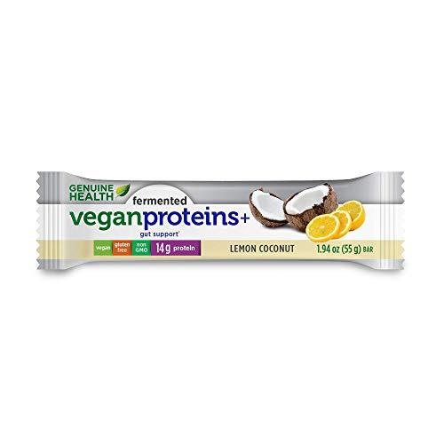 Genuine Health Fermented Vegan Proteins+ bar, Lemon Coconut, Box of 12-1.94 oz Bars