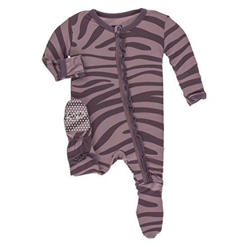 (Kickee Pants Little Girls Print Muffin Ruffle Footie with Zipper - Elderberry Zebra Print, 5 Years)