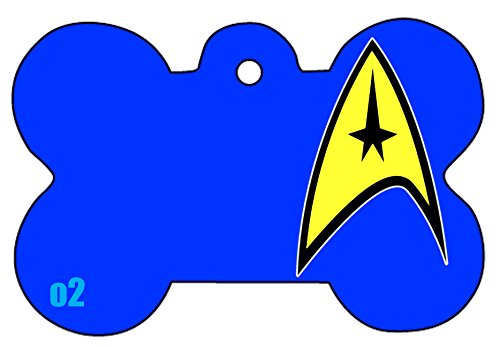 Image of Star Trek Badge Star Fleet Art Logo Dog Pet Cat ID Tag Bone Shape Image PhotoPersonalized with Key Ring (Face) (BLUE)