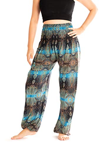 Noonew Women's Smocked Waist Thai Yoga Pants Bohemain Boho Hippies Clothing Styles Blue ()