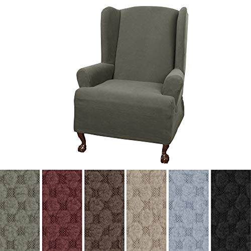 Maytex Mills Pixel Ultra Soft Stretch Wing Back Arm Chair Furniture Cover Slipcover, Dusty Olive - Petite Wingback Chair
