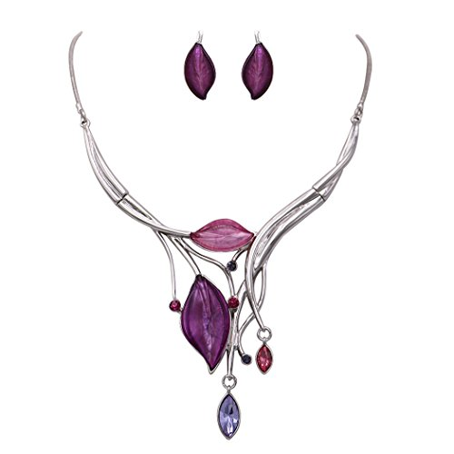 Rosemarie Collections Women's Leaf Design Statement Bib Necklace Earrings Set (Silver Tone/Purple) (Leaf Design Necklace)