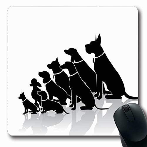Ahawoso Mousepad Oblong 7.9x9.8 Inches Many Group Sitting Dogs Different Breeds Doggy Veterinary Dachshund Outline Beagle Adopt Design Dane Office Computer Laptop Notebook Mouse Pad,Non-Slip Rubber