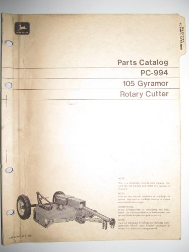 John Deere 105 Gyramor Rotary Cutter Parts Catalog Book Manual PC-994 Original