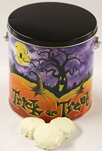 Scott's Cakes White Chocolate Covered Peanut Butter Oreos in a Halloween Pumpkin Patch Pail -