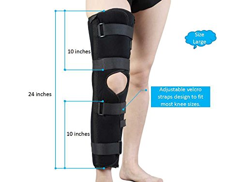 Knee Immobilizer Brace Support Splint ,Tri-panel, Height 24 inches, Large ,Black. (Immobilizer Brace Knee)