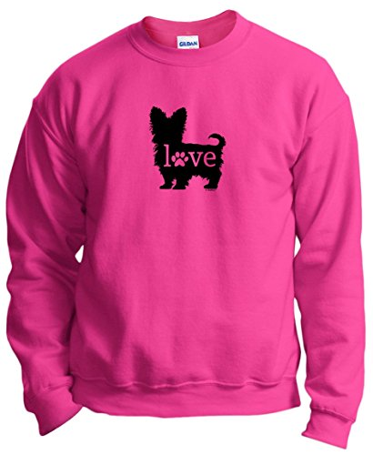 (Dog Lover Gifts Yorkshire Terrier Love Dog Paw Prints Crewneck Sweatshirt Small)