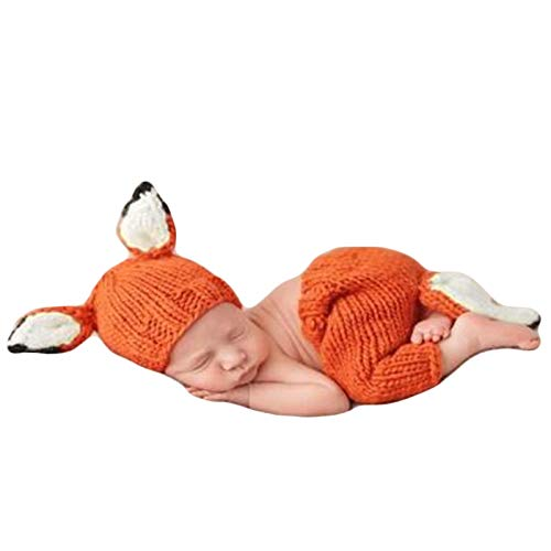 Baby Photography Props Hat Pants Cute Fox Newborn Boy Girl Photo Shoot Outfits Infant Crochet Unisex Photos Prop Set Orange -