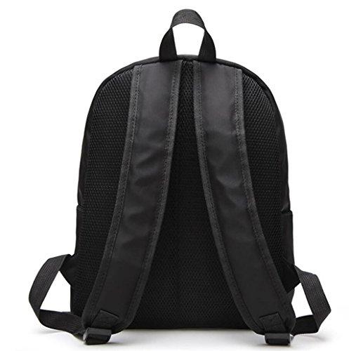 Great Strange Damen doppelte Schulter-Beutel Oxford-Tuch-Freizeit Retro Einkaufen-Schule-Mädchen-Schwarzes 31 * 15 * 38cm