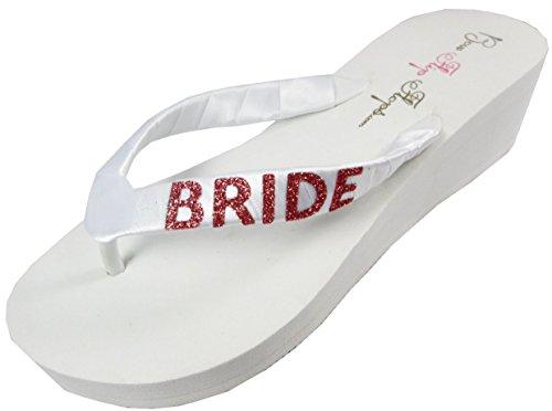 50f4d47cf Navy   Silver - Wedge Wedding Flip Flops