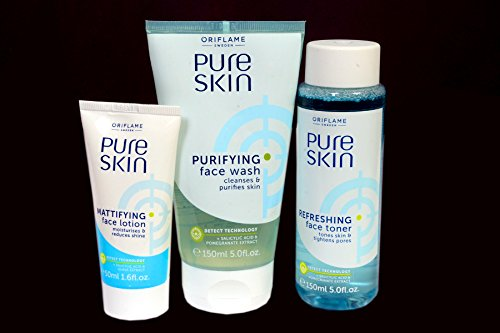 Oriflame New Pure Skin Face Wash(15Ml) For Purifing Skin & Mattifying Face Lotion (5Ml) With Refreshing Face Toner(15Ml) -(Combo Set Of 3)