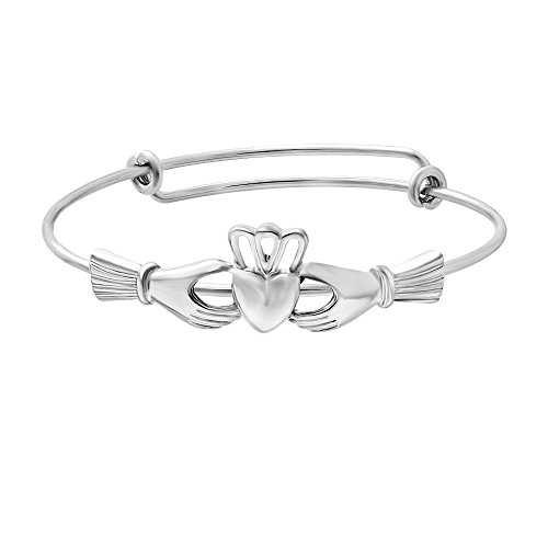 SENFAI The Claddagh Adjustable Female Bracelet Bangle for Women Girls 6.5 in