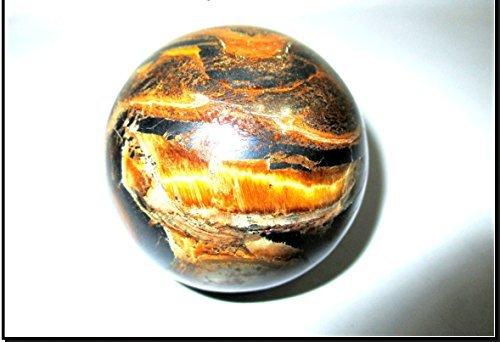 (Jet Tiger Eye 45-50 mm Ball Sphere Gemstone A+ Hand Carved Crystal Altar Healing Devotional Focus Spiritual Chakra Cleansing Metaphysical)