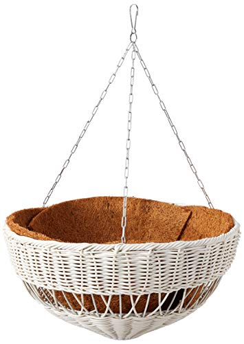 DMC Products 17-Inch Resin Wicker Hanging Basket with Chain Hanger, White