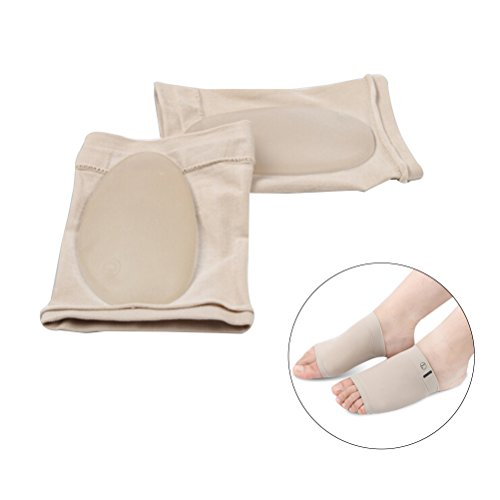 (ROSENICE Comfortable Silica Gel Arch Supports Pads Flat Feet Insoles Plantar Fasciitis Sleeve Socks Gel Feet Care Orthopedic)