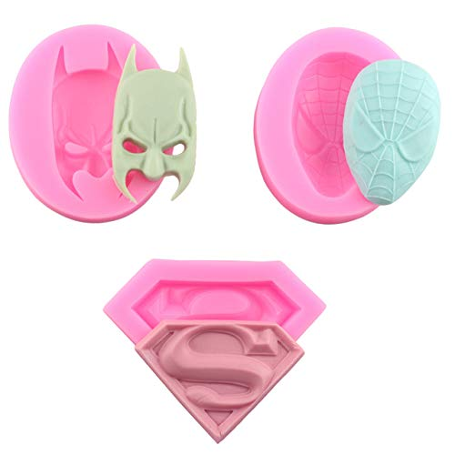 Astra Gourmet 3 Pack 3D Silicone Molds in Superman Logo, Spiderman Face and Batman Face For Sugarcraft, Fondant, Chocolate, Gum Paste, Marzipan or Craft Clays For Cake or Cupcake Decorating