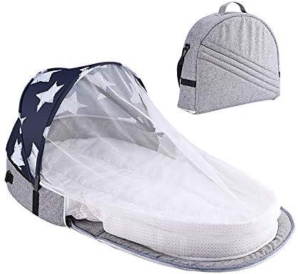 Mecoyas 유아용 침대 접이식 침대 吊手 된 모기장 다기능 아기 침대 휴대용 야외 여행 (그레이) / Mecoyas Crib Folding Crib With Hanging Hand Mosquito Net Multifunction Baby Bed Carrying Outdoor Travel (Grey)