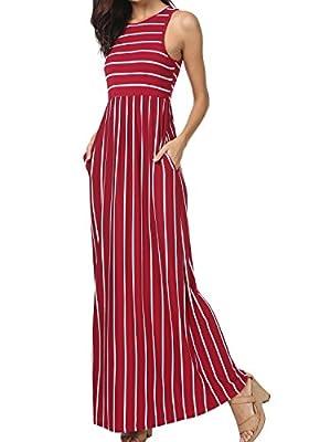 levaca Women's Summer Sleeveless Striped Pockets Loose Swing Casual Maxi Dress