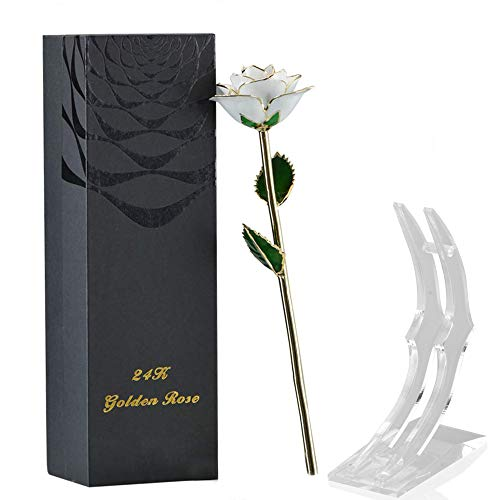 SW White Real Rose Dipped in 24k Gold Foil Elegant Flower Eternal Love Romantic Rose Decor Gift w/Nice Box for Valentine's Day, Mother's Day, Thanksgiving Day, Christmas, Birthday, Anniversary