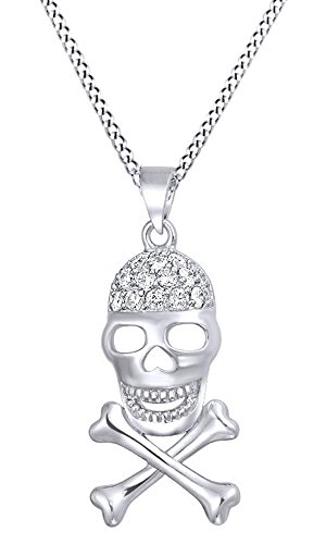 Skull and Crossbones Cubic Zirconia Pendant With Chain In 14K White Gold Over Sterling Silver