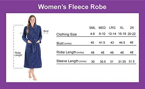 Sleepyheads Women's Plush Fleece Robe Jacquard Long Sleeve Bathrobe