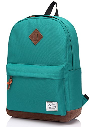 Vaschy School Backpack for Teens with Padded 15 inch Laptop Compartment Lightweight Casual Travel Rucksack Green
