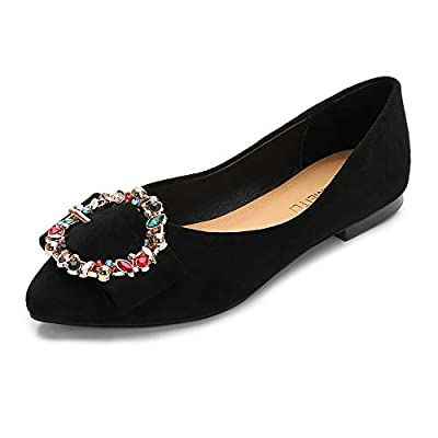 Wollanlily Women's Pointy Toe Buckle Ballet Flats Rhinestone Comfort Slip On Walking Flats Shoes